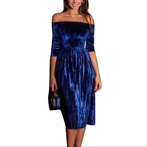 aa07437b0fbf Off Shoulder Velvet Midi Length Pleated Dress
